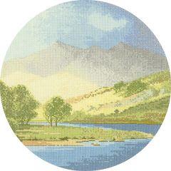 John Clayton Counted Cross Stitch Circle Kit Mountains and Lake