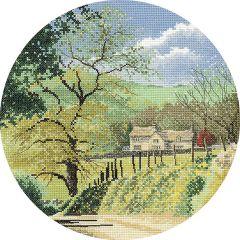 John Clayton Counted Cross Stitch Circle Kit Primrose Bank