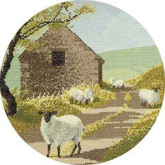 John Clayton Counted Cross Stitch Circle Kit Sheep Track