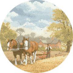 John Clayton Counted Cross Stitch Circle Kit Teamwork Horse and Plough
