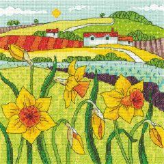 Karen Carter Counted Cross Stitch Kit Daffodil Landscape