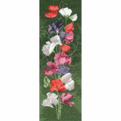 John Clayton Counted Cross Stitch Flower Panel Kit Sweet Pea