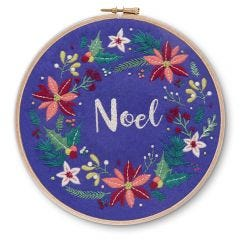 Noel Christmas Floral Wreath Embroidery Kit