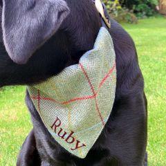 Personalised Tweed Dog Neckerchief