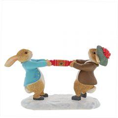 Peter Rabbit™ and Benjamin Pulling a Cracker Figurine