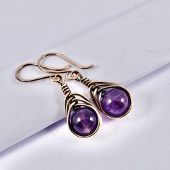 Purple Amethyst Copper Earrings