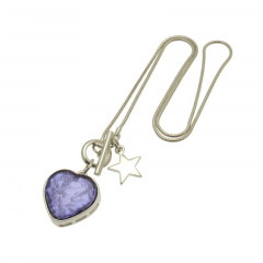 Purple Heart Charm Necklace