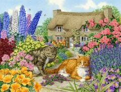 Spring Cottage Cats - Sarah Adams Jigsaw Puzzle