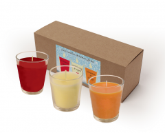Votive Candle Gift Set - Cinnamon & Orange, Christmas Spice & Frankincense & Myrrh