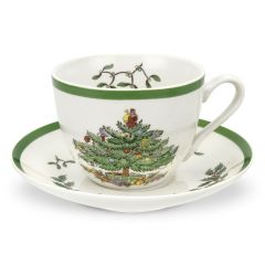 Christmas Tree Cup and Saucer - Set of 4