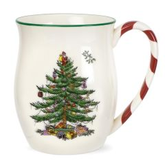 Christmas Tree Mug with Peppermint Handles - Set of 4