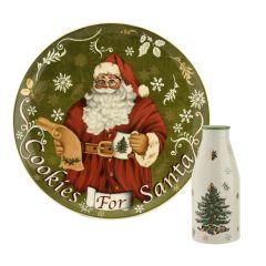 Santa Cookies Plate and Milk Bottle