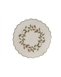 Holly Embroidered Round Mat