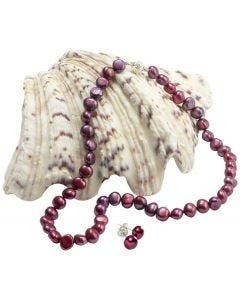 Cranberry Freshwater Cultured Pearl Necklace And Bracelet Set With Free Earrings