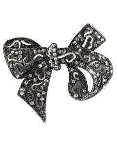 Studded 6.3cm Bow Brooch With Faux Hematite And Sparkling Crystals