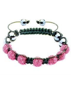 New Womens Shamballa Cerise Pink Crystal Ball Studded Bracelet On Black Macrame