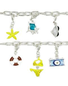 New Beach Babe Silver-Plated T-Bar 19cm Bracelet with 6 Charms And A T-Bar Clasp