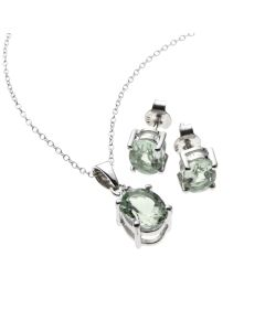 BNWT Anderson and Webb Green Amethyst and Diamond Oval Suite in Sterling Silver