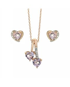 Pink Amethyst Heart Rose Gold Plated 925 Silver Jewellery Necklace & Earring Set