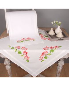 Jolly Geraniums Stem & Cross Stitch Tablecloth And Runner Embroidery Set