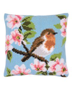 Blossom Robin Cross Stitch Cushion Kit