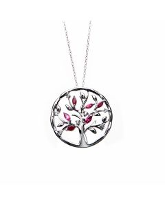 Ruby and Tourmaline Silver Tree of Life Pendant