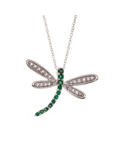 Emerald Dragonfly Silver Pendant with sp ball studs