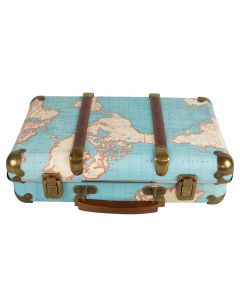 Around The World Vintage Map Suitcase