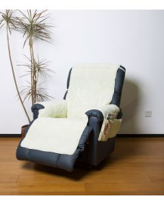 Fleece Recliner Cover with Pockets - Natural