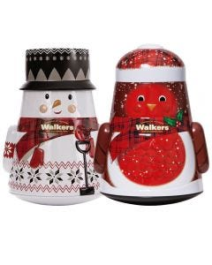 Walkers Christmas Snowman and Robin Tins