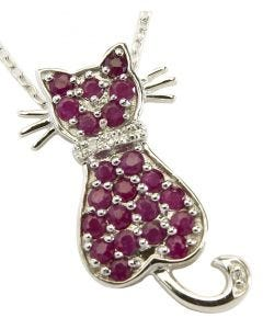 BNWT Womens Anderson & Webb Sterling Silver Cat Pendant Necklace With Red Rubies