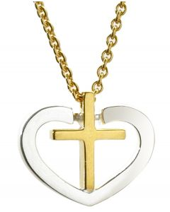 925 Sterling Silver Heart And 18ct Gold-Plated Cross Pendant With Gold-Plated Sterling Silver Chain