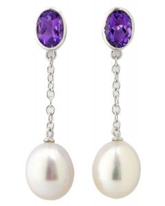 Purple Amethyst And White Freshwater Cultured Drop Pearl Silver Earrings
