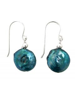 New Womens Blue Coin Pearl Earrings With Sterling Silver Fish Hook Fittings