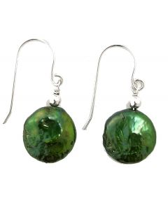 Anderson & Webb Freshwater Cultured Green Coin Pearl Silver Earrings