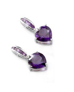 Genuine Purple Amethyst & Diamond Heart Earrings Set In 925 Sterling Silver