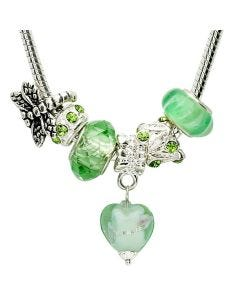 "New Green 18"" Necklace With 6 Charms Including A Dragonfly & Crystal Drop Heart"