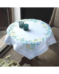 Butterflies In Aqua Embroidery Tablecloth & Runner Kit Stem