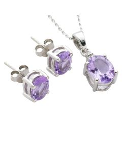 BNWT Womens Pink Amethyst & Diamond Suite Set In Sterling Silver with Pendant Necklace