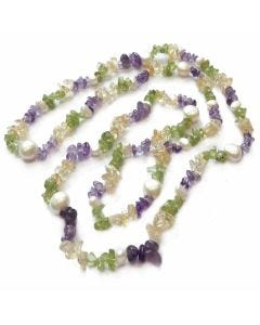 "BNWT Womens Summer Colours of Semi-Precious 32"" Gemstone and pearl Rope Necklace"