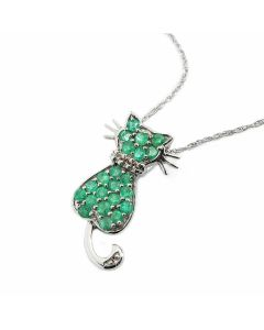 Sterling Silver Cat Pendant Necklace With Emeralds And Diamonds + Free Earrings