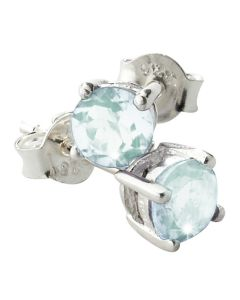 BNWT Womens Blue Topaz Stud 5mm Earrings Set In Solid 925 Sterling Silver