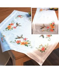 Hummingbirds Embroidery Tablecloth & Runner Set: Uses Stem