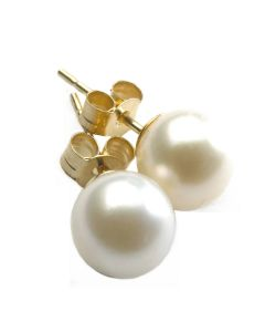 White 9mm Pearl Earrings With Gold Plated Silver Fittings