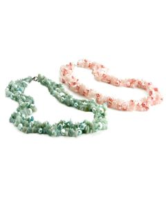 Freashwater Two Pearl And Semi-Precious Gemstone Twist Necklace In Pink & Green