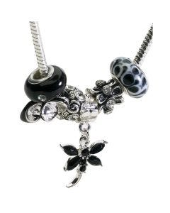 Black & White 46cm Necklace with 6 Charms Including A Shoe and Dragonfly