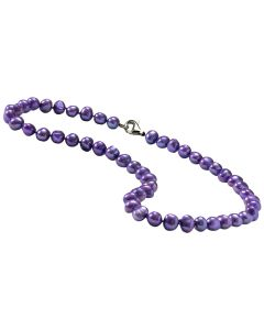 New Womens Amethyst Pearl 46cm Necklace  with Sterling Silver Lobster Clasp