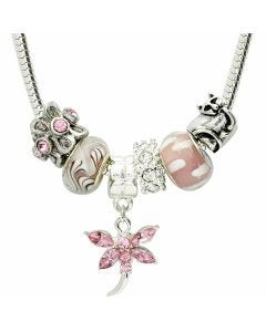 "Pink 18"" Necklace With 6 Charms Including A Cat"