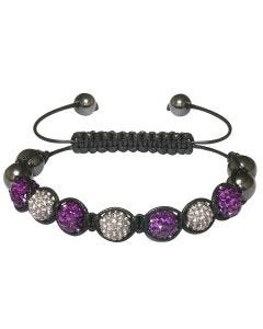 New Womens Shamballa Purple Crystal Ball Studded Bracelet On Black Macrame
