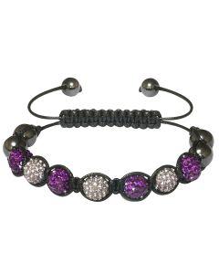 New Womens Shamballa Purple Crystal Ball Studded Bracelet On Black Macrame